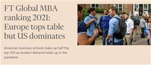 2021《金融时报》全球MBA排名发布,法国高商排名瞩目